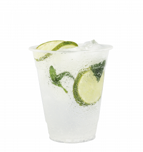 Frankly juice in a glass with lime and mint