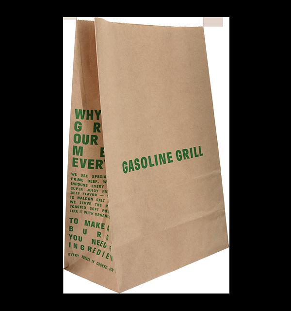 Gasoline Grill Branded Brown Takeaway Bag