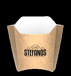 Stefanos customer branded fries packaging