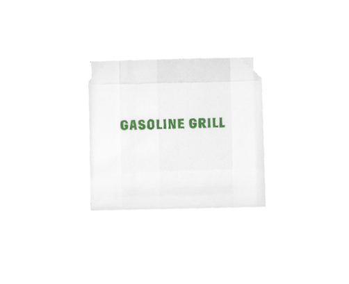 Gasoline Grill branded white fries bag